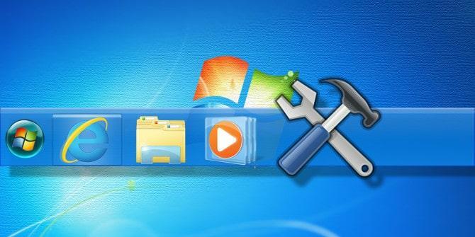 نوار وظیفه Toolbars در ویندوز سون