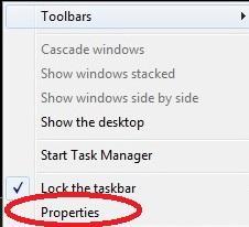 تنظیمات استارت ویندوز 7