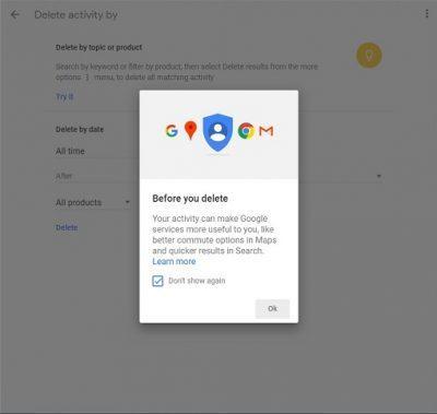 نحوه پاک کردن اطلاعات از اکانت گوگل