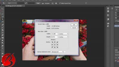 روش دوم استفاده از ابزار Canvas Size جهت تغییر اندازه عکس در فتوشاپ