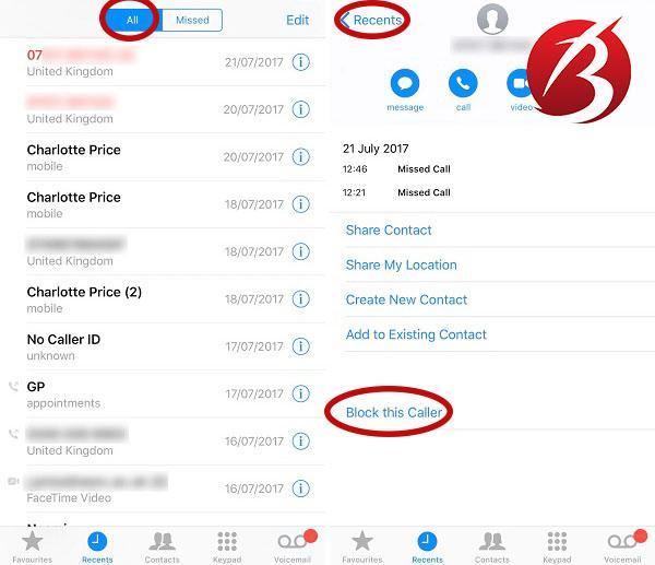 بلاک کردن افراد در آیفون - بلاک از لیست تماس