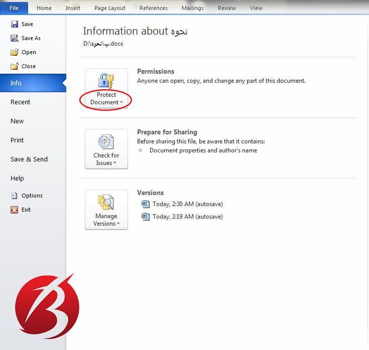گذاشتن رمز و پسورد روی فایل ورد - عکس دو
