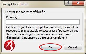 گذاشتن رمز و پسورد روی فایل ورد - عکس چهار