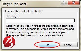 گذاشتن رمز و پسورد روی فایل ورد - عکس هفت