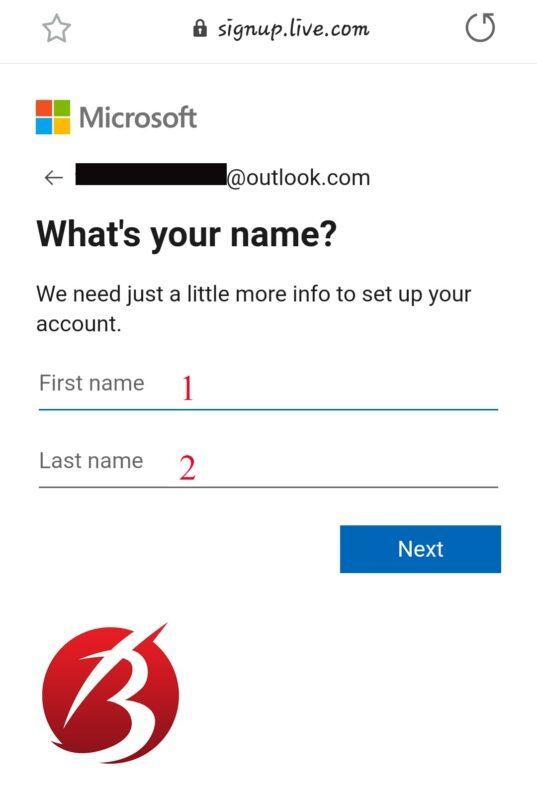 ساخت ایمیل - تکمیل اطلاعات Outlook