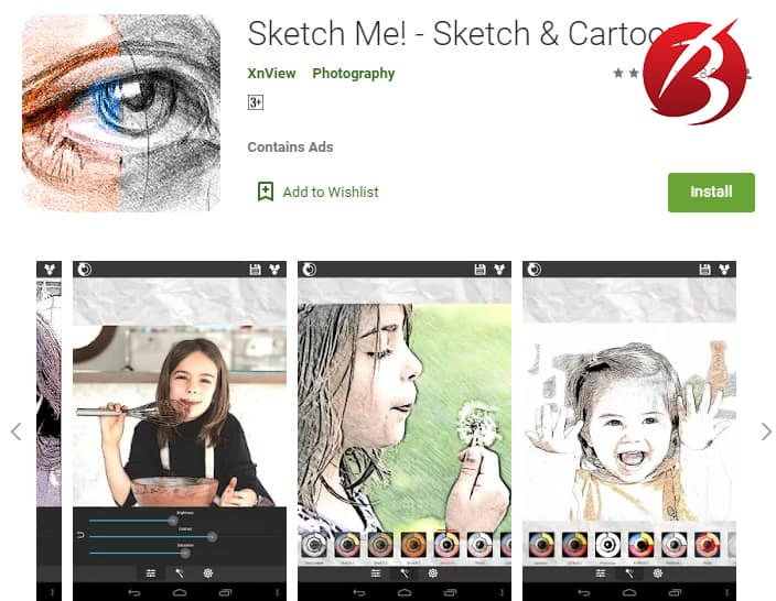 برنامه های تبدیل عکس به نقاشی - Sketch Me! Sketch&Cartoon