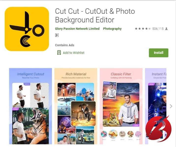 برنامه های حذف و تغییر پس زمینه عکس اندروید - برنامه Cut Cut
