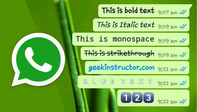 تغییر رنگ و فونت متن واتس اپ - وب سایت برتر رایانه