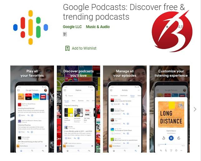اپلیکیشن های پخش پادکست - اپلیکیشن Google Podcasts