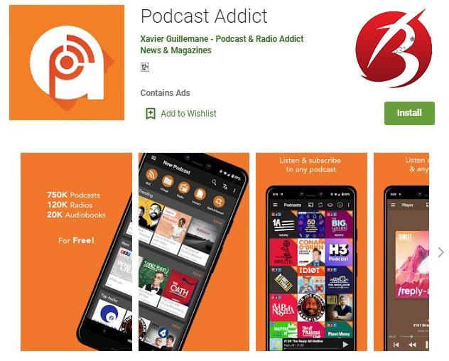اپلیکیشن های پخش پادکست - اپلیکیشن Podcast Addict