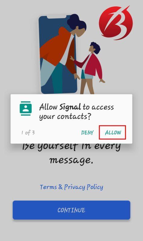 پیام رسان سیگنال - دسترسی ها