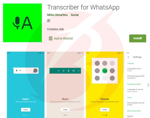 افزونه های واتس اپ کروم - افزونه Transcriber