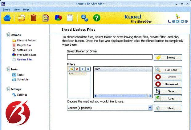نرم افزارهای حذف دائم اطلاعات از کامپیوتر - نرم افزار Kernel File Shredder