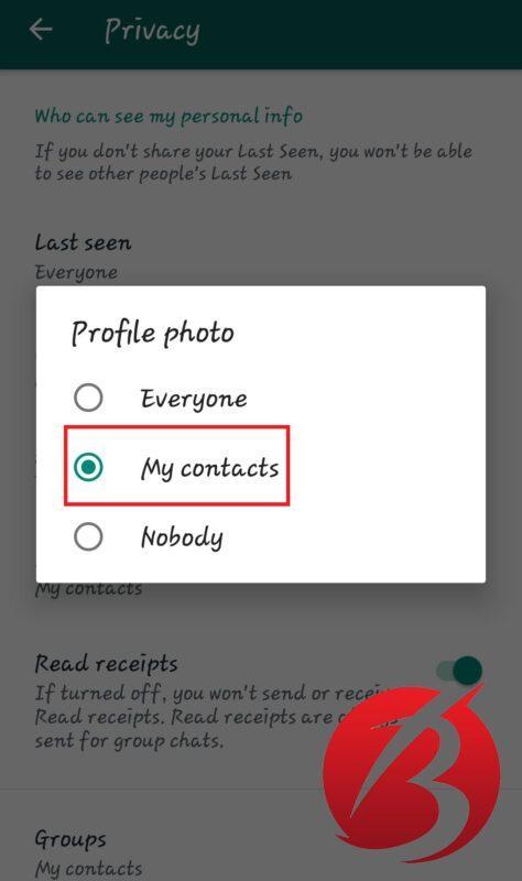 تغییر تنظیم پروفایل واتس اپ و نمایش آن تنها برای مخاطبین