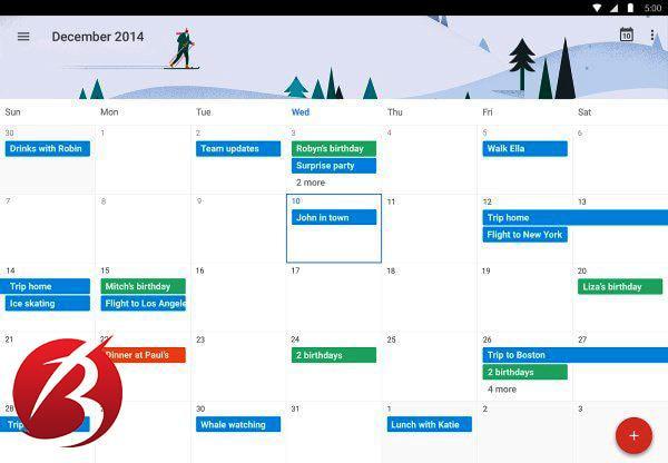 اپلیکیشن های برنامه ریزی و مدیریت زمان - اپلیکیشن Google Calender