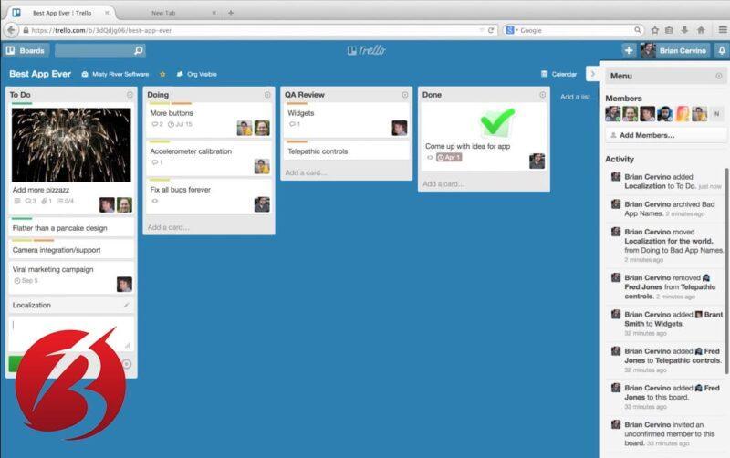 اپلیکیشن های برنامه ریزی و مدیریت زمان - اپلیکیشن Trello