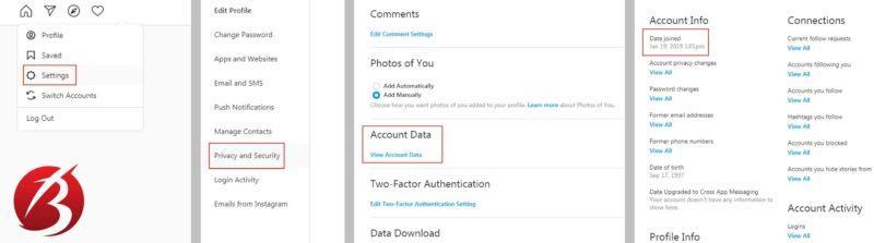 فهمیدن تاریخ ساخت حساب کاربری از طریق اینستاگرام وب