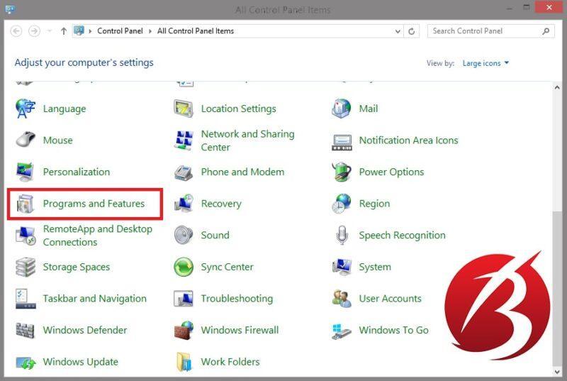 حذف برنامه در ویندوز هشت