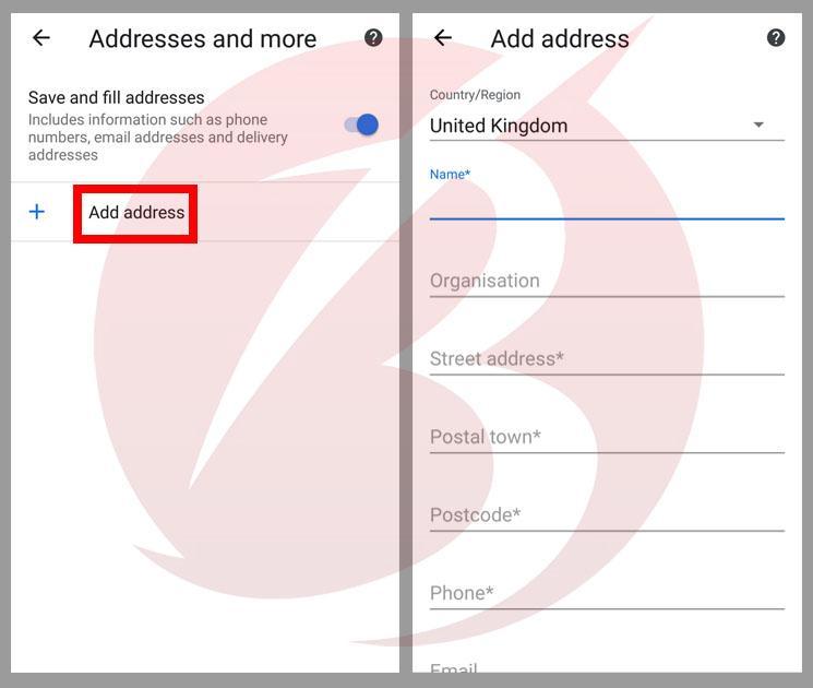 اضافه کردن آدرس در کروم اندروید