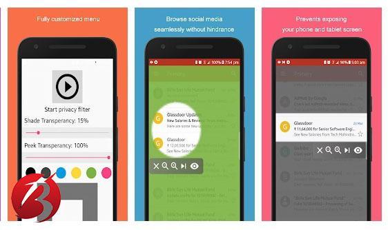 برنامه های مات کردن صفحه گوشی برای حفظ حریم خصوصی - برنامه Privacy filter Bold
