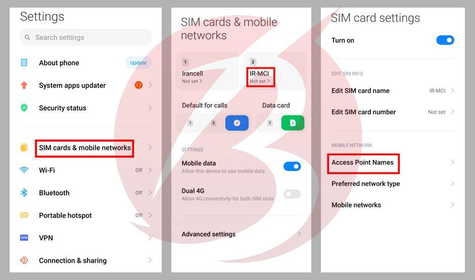 تنظیم APN سیم کارت در گوشی های اندرویدی - برای سیم کارت همراه اول