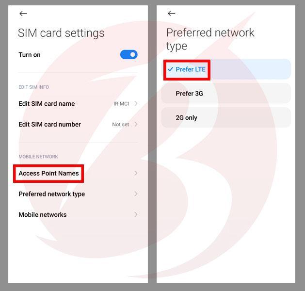 حل مشکل عدم اتصال گوشی های شیائومی به اینترنت - استفاده از اینترنت LTE