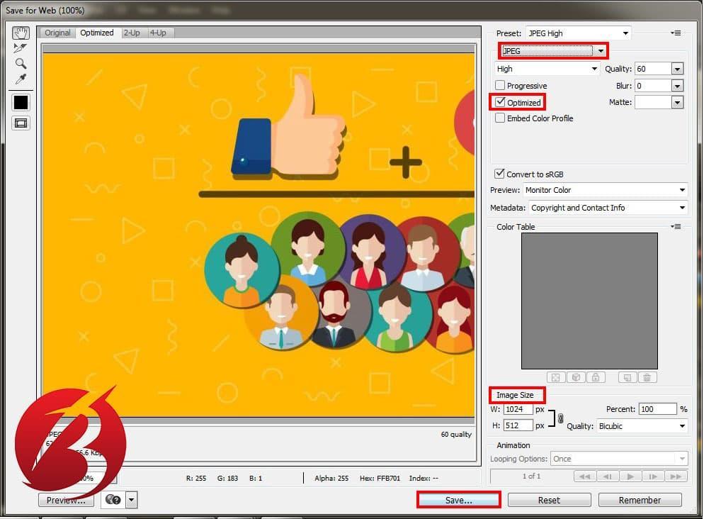 ذخیره عکس برای وب سایت در فتوشاپ