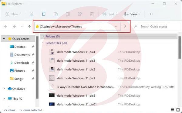 فعالسازی حالت شب در ویندوز 11 از طریق File Explorer