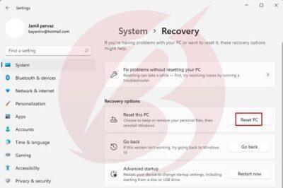 ساده ترین روش ریست کردن ویندوز ۱۱ بدون از بین رفتن اطلاعات
