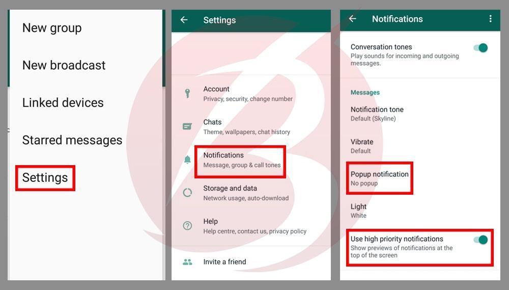 بستن نوتیفیکیشن یا اعلان پیام رسان واتس اپ در برنامه واتس اپ