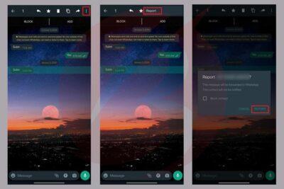 نحوه ریپورت کردن در واتساپ برای پیام ها