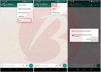 ریپورت کردن در واتساپ برای مخاطب